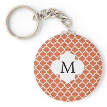Personalized Monogram Quatrefoil orange and White Keychain