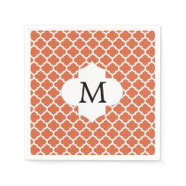 Personalized Monogram Quatrefoil orange and White Paper Napkin