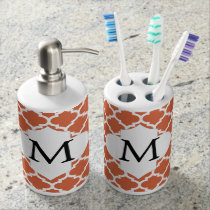 Personalized Monogram Quatrefoil orange and White Soap Dispenser & Toothbrush Holder