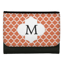 Personalized Monogram Quatrefoil orange and White Wallet For Women