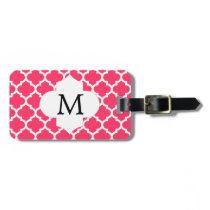 Personalized Monogram Quatrefoil Pink and White Bag Tag