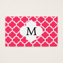 Personalized Monogram Quatrefoil Pink and White Business Card