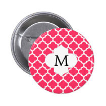 Personalized Monogram Quatrefoil Pink and White Button