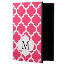 Personalized Monogram Quatrefoil Pink and White iPad Air Cover