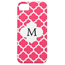 Personalized Monogram Quatrefoil Pink and White iPhone SE/5/5s Case