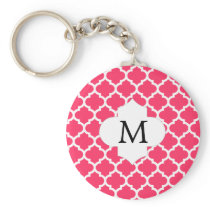Personalized Monogram Quatrefoil Pink and White Keychain