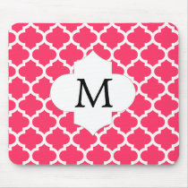 Personalized Monogram Quatrefoil Pink and White Mouse Pad