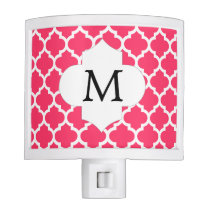 Personalized Monogram Quatrefoil Pink and White Night Light