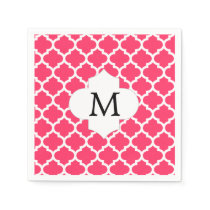 Personalized Monogram Quatrefoil Pink and White Paper Napkin
