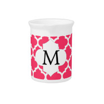 Personalized Monogram Quatrefoil Pink and White Pitcher