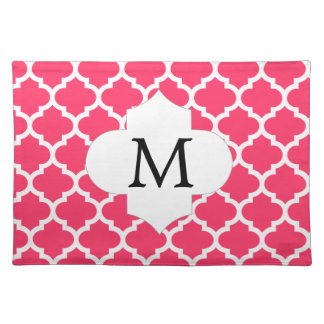 Personalized Monogram Quatrefoil Pink and White Placemat