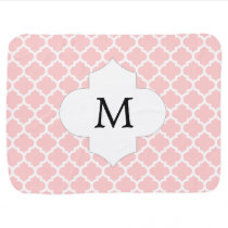 Personalized Monogram Quatrefoil Pink and White Receiving Blanket