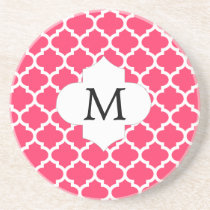 Personalized Monogram Quatrefoil Pink and White Sandstone Coaster