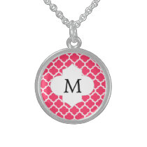 Personalized Monogram Quatrefoil Pink and White Sterling Silver Necklace