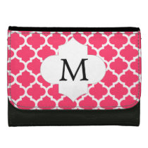 Personalized Monogram Quatrefoil Pink and White Wallet For Women