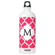 Personalized Monogram Quatrefoil Pink and White Water Bottle