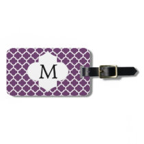 Personalized Monogram Quatrefoil Purple and White Bag Tag