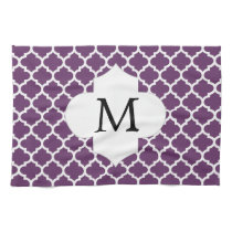 Personalized Monogram Quatrefoil Purple and White Hand Towels