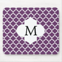 Personalized Monogram Quatrefoil Purple and White Mouse Pad