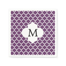 Personalized Monogram Quatrefoil Purple and White Napkin