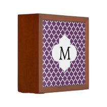 Personalized Monogram Quatrefoil Purple and White Pencil/Pen Holder