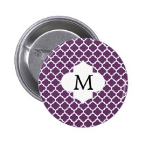 Personalized Monogram Quatrefoil Purple and White Pinback Button