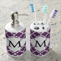 Personalized Monogram Quatrefoil Purple and White Soap Dispenser & Toothbrush Holder