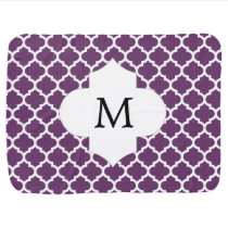 Personalized Monogram Quatrefoil Purple and White Stroller Blanket