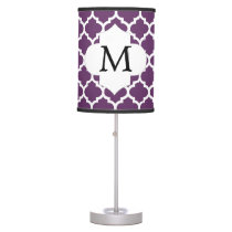 Personalized Monogram Quatrefoil Purple and White Table Lamp