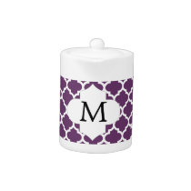 Personalized Monogram Quatrefoil Purple and White Teapot