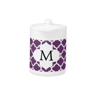 Personalized Monogram Quatrefoil Purple and White Teapot