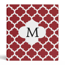 Personalized Monogram Quatrefoil Red and White 3 Ring Binder