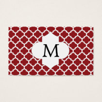 Personalized Monogram Quatrefoil Red and White Business Card
