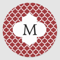 Personalized Monogram Quatrefoil Red and White Classic Round Sticker