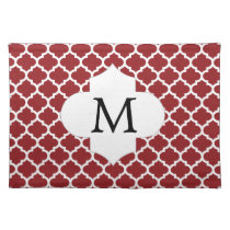 Personalized Monogram Quatrefoil Red and White Cloth Placemat
