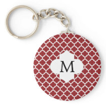 Personalized Monogram Quatrefoil Red and White Keychain