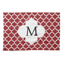 Personalized Monogram Quatrefoil Red and White Kitchen Towel