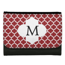 Personalized Monogram Quatrefoil Red and White Leather Wallets