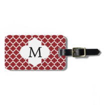 Personalized Monogram Quatrefoil Red and White Luggage Tag