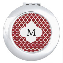 Personalized Monogram Quatrefoil Red and White Makeup Mirror