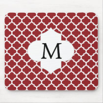 Personalized Monogram Quatrefoil Red and White Mouse Pad