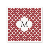 Personalized Monogram Quatrefoil Red and White Napkin