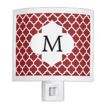 Personalized Monogram Quatrefoil Red and White Night Light