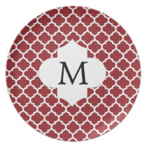 Personalized Monogram Quatrefoil Red and White Plate