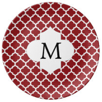 Personalized Monogram Quatrefoil Red and White Porcelain Plate