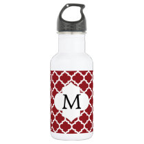 Personalized Monogram Quatrefoil Red and White Stainless Steel Water Bottle