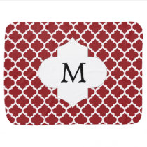 Personalized Monogram Quatrefoil Red and White Swaddle Blanket