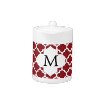Personalized Monogram Quatrefoil Red and White Teapot