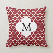Personalized Monogram Quatrefoil Red and White Throw Pillow