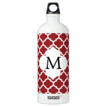 Personalized Monogram Quatrefoil Red and White Water Bottle